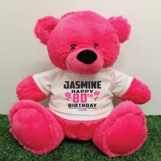 Personalised 80th Birthday Bear Pink 40cm
