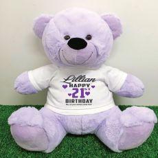 Personalised 21st Birthday Bear Lavender Plush 40cm