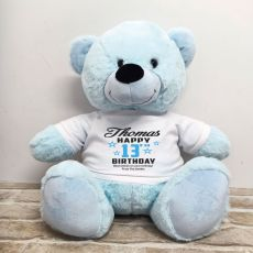 Personalised 13th Birthday Bear Light Blue 40cm