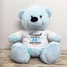 Personalised 40th Birthday Bear Light Blue 40cm