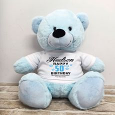 Personalised 50th Birthday Bear Light Blue 40cm