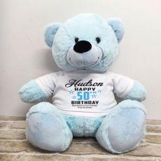 Personalised 50th Birthday Bear Light Blue 40cm