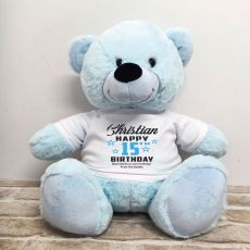 Personalised Birthday Bear Light Blue 40cm