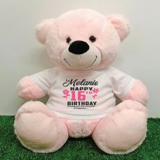 Personalised 16th Birthday Bear Light Pink 40cm