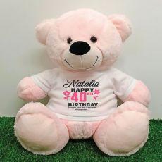 Personalised 40th Birthday Bear Light Pink 40cm