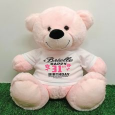 Personalised Birthday Bear Light Pink 40cm