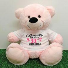 Personalised Birthday Bear Light Pink 40cm