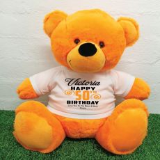 Personalised 50th Birthday Bear Orange 40cm