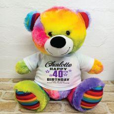 Personalised 40th Birthday Bear Rainbow 40cm