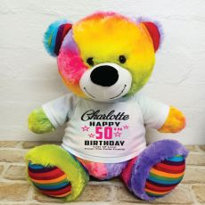 Personalised 50th Birthday Bear Rainbow 40cm