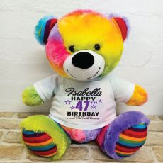 Personalised Birthday Bear Rainbow 40cm