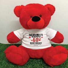 Personalised 60th Birthday Bear 40cm Red