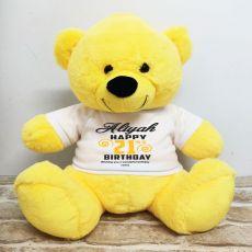Personalised 21st Birthday Bear Yellow 40cm