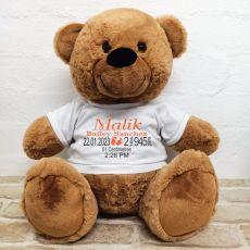 Personalised Newborn Bear 40cm Brown Plush