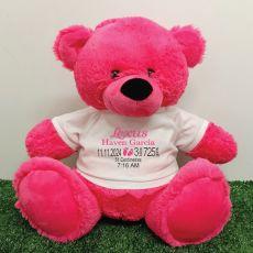 Personalised Newborn Bear 40cm Hot Pink Plush
