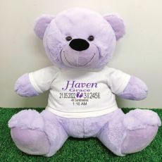 Personalised Newborn Bear 40cm Lavender Plush