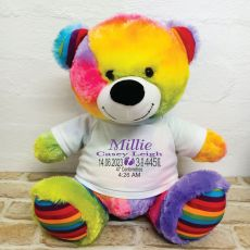 Personalised Newborn Bear 40cm Rainbow Plush