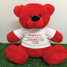 Personalised Newborn Bear 40cm Red Plush