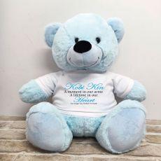 Personalised Memory Teddy Bear 40cm Light Blue