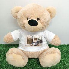 Teddy Bear with Photo T-Shirt 40cm Cream