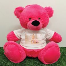 Personalised Photo Teddy Bear 40cm Hot Pink