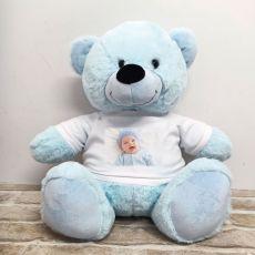 Personalised Photo Teddy Bear 40cm Light Blue