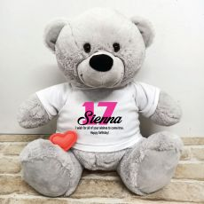 Recordable Birthday Bear with T-Shirt - Grey 40cm
