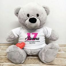 Recordable Birthday Bear Grey 40cm