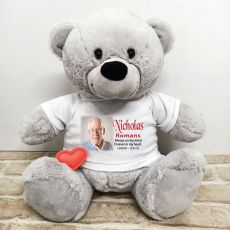Voice Recordable Memorial Photo Bear with T-Shirt - Grey 40cm