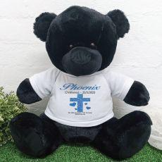 Personalised Christening  Bear 40cm Black