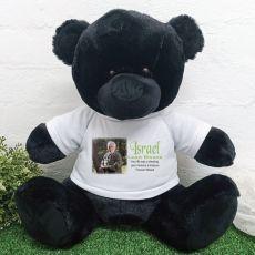 Personalised Memorial Photo Teddy Bear 40cm Black