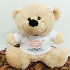Personalised 21st Bear Cream Plush