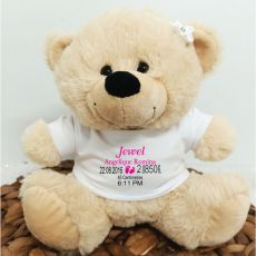 Personalised Baby Birth Details Bear Cream Plush