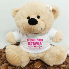 Personalised Get Well Bear Cream Plush