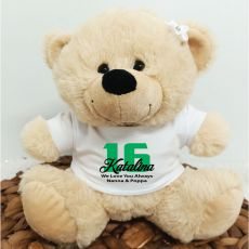 16th Teddy Bear Cream Personalised Plush