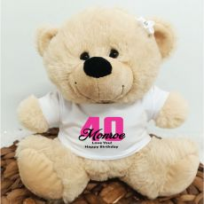 40th Teddy Bear Cream Personalised Plush