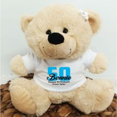 50th Teddy Bear Cream Personalised Plush