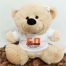 60th Teddy Bear Cream Personalised Plush