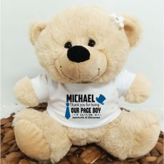 Personalised Page Boy Bear Cream Plush