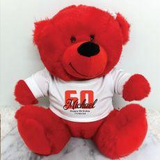 Personalised 60th Teddy Bear Red Plush