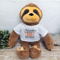 30th Birthday Personalised Sloth Plush