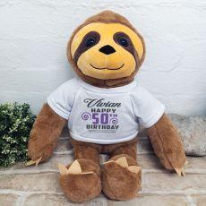 50th Birthday Personalised Sloth Plush