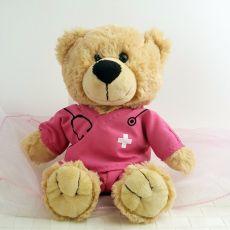 Teddy Bear with Pink Nurse Doctor Scrubs