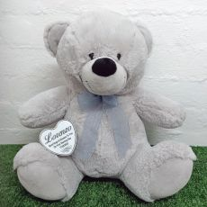 Naming Day Keepsake Bear with heart Grey 40cm