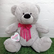 Naming Day Keepsake Bear with heart Grey / Pink 40cm