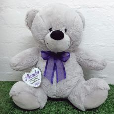 Personalised Keepsake Bear with heart Grey / Purple 40cm