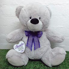 Personalised Keepsake Bear with heart Grey / Purple 40cm