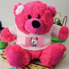 Personalised Photo T-Shirt Teddy Bear- Hot Pink