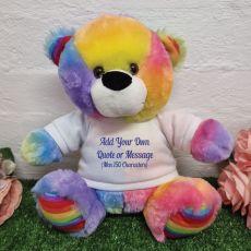 Custom Text Message Bear Rainbow 30cm
