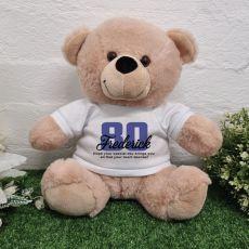 80th Birthday Personalised Birthday Bear Cream 30cm
